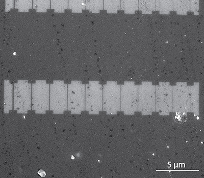 Array of graphene nanoribbons with decreasing widths fabricated via electron beam lithography